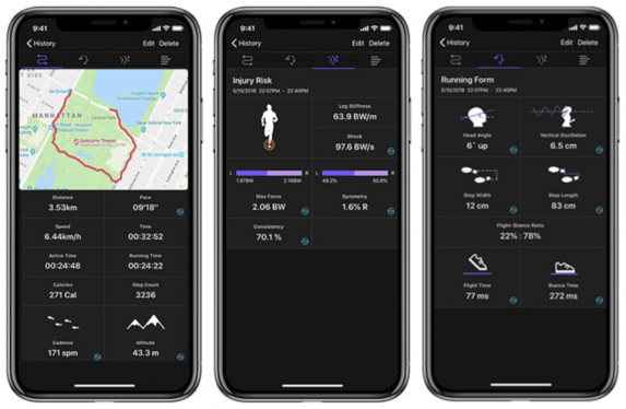 Blade syncs with an app to record and track the runner's performance stats