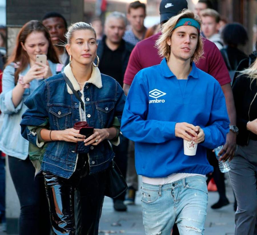 Hailey Baldwin and Justin Bieber are seen out and about in London where they visited a
