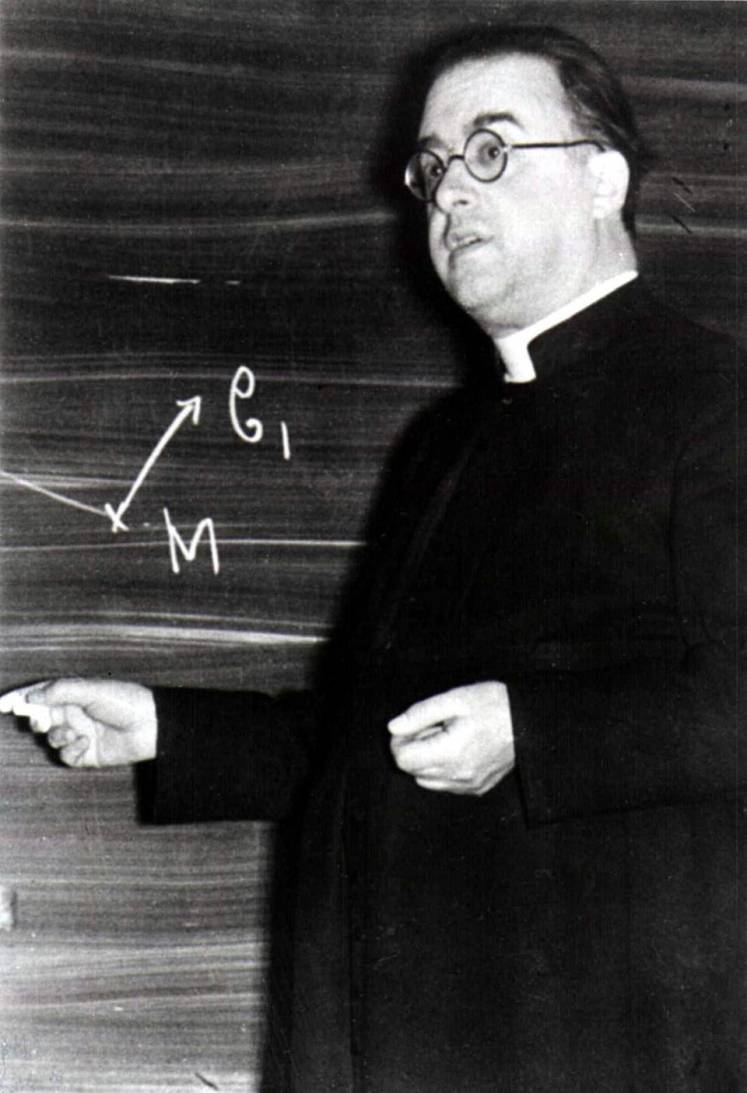Georges Lemaître at the Catholic University of Leuven, ca. 1933. Public domain image.