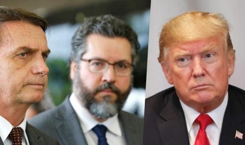 Jair Bolsonaro (à esquerda), chanceler Ernesto Araújo (ao centro) e Donal Trump (à direita). (Imagem: Blog do Esmael)