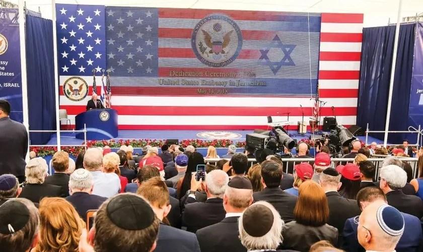 Embaixador dos EUA para Israel David Friedman fala na abertura da Embaixada dos EUA em Jerusalém no ano passado. (Foto: Marc Israel Sellem /Jerusalem Post)