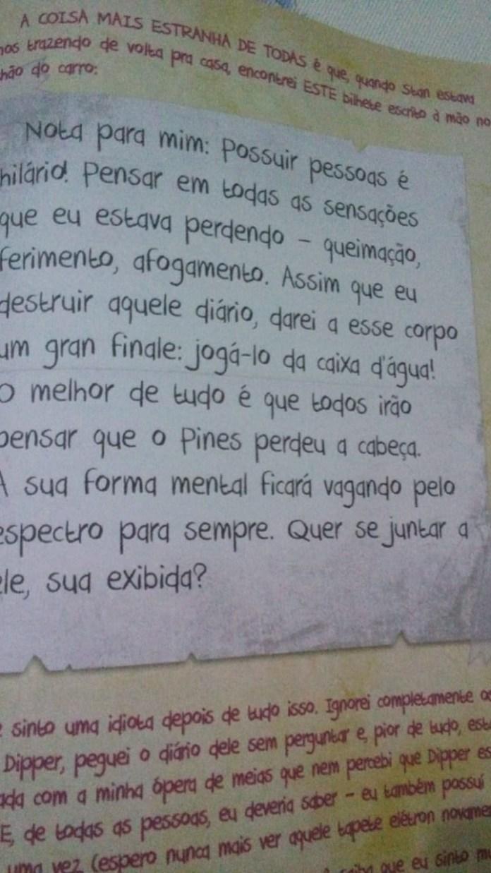 """Página do livro """"Gravity Falls"""" exibe o que seria um bilhete escrito por um demônio sobre possuir uma pessoa e levá-la ao suicídio. (Foto: Arquivo Pessoal)"""