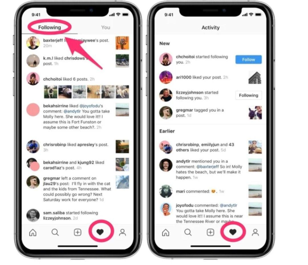 aperçu du nouvel onglet dédié à l'activité sur Instagram