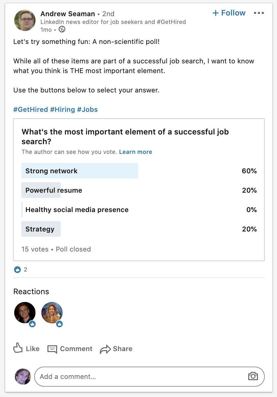 Aperçu des sondages sur LinkedIn.