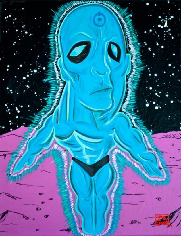 Doctor Manhattan Painting 630x820 What If Picasso Painted Superheroes?
