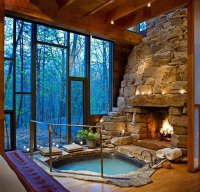 Indoor Jacuzzi And Fireplace