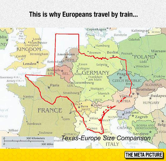 Size Texas Compared Europe