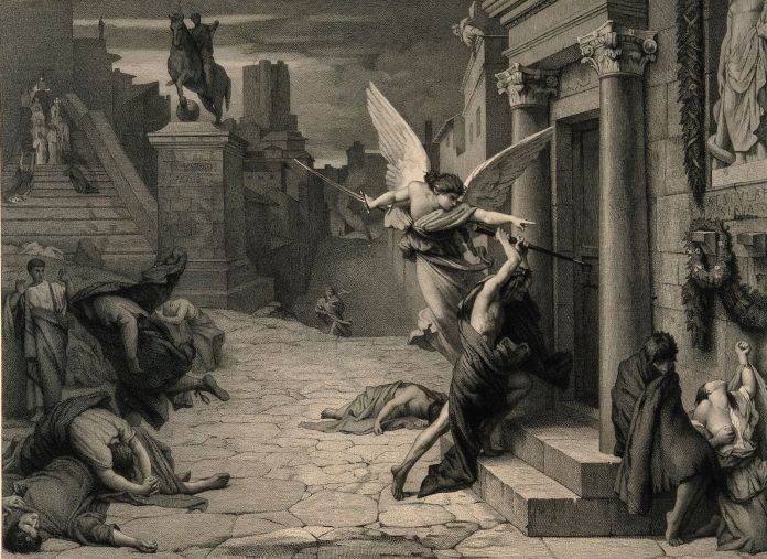 the_angel_of_death_striking_a_door_during_the_plague_of_rome_wellcome_v0010664.jpg (1600×1166)
