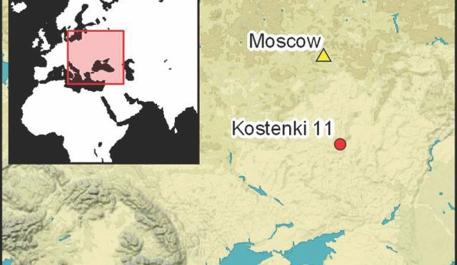 Location of the mammoth bone structure found in modern-day Russia
