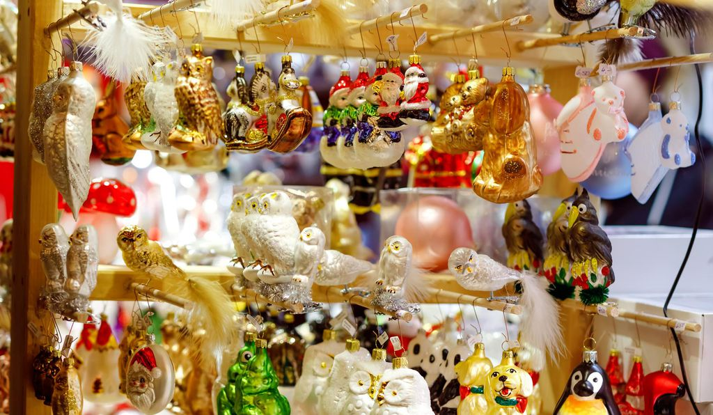 Ornaments on display at a German Christmas market