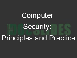 Computer Security: Principles and Practice PowerPoint