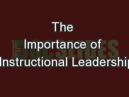 1 Shared Instructional Leadership PowerPoint Presentation