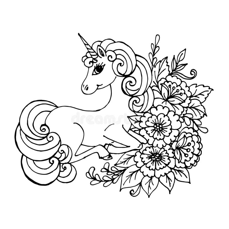 Cute Unicorn With Roses Simple Cartoon Vector Coloring