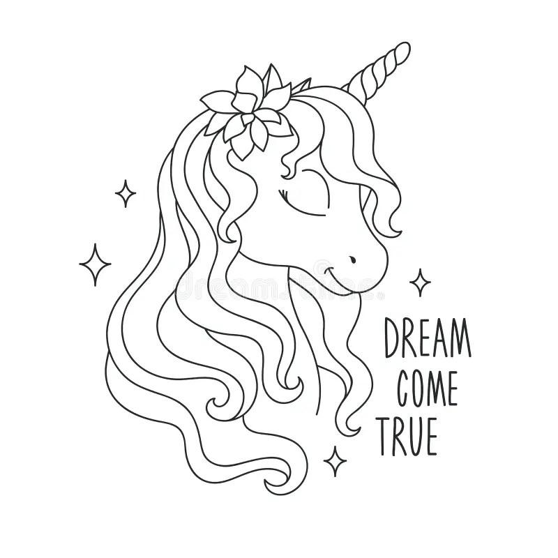 Unicorn Coloring Pages. Dream Come True Text. Illustration