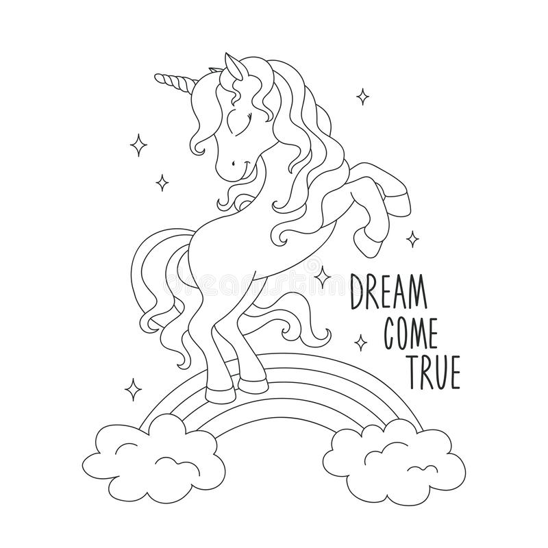 Unicorn On A Rainbow. Coloring Pages. Dream Come True Text
