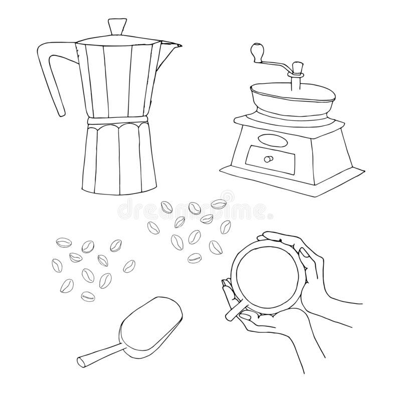 Hand Drawn Of Manual Coffee Grinder With Beans Stock