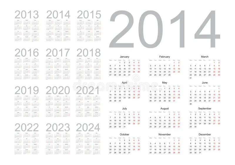 日历年2013年到2022年 向量例证. 插画 包括有 星期, 星期四, 威严的, 阿尔法, 计划, 10月