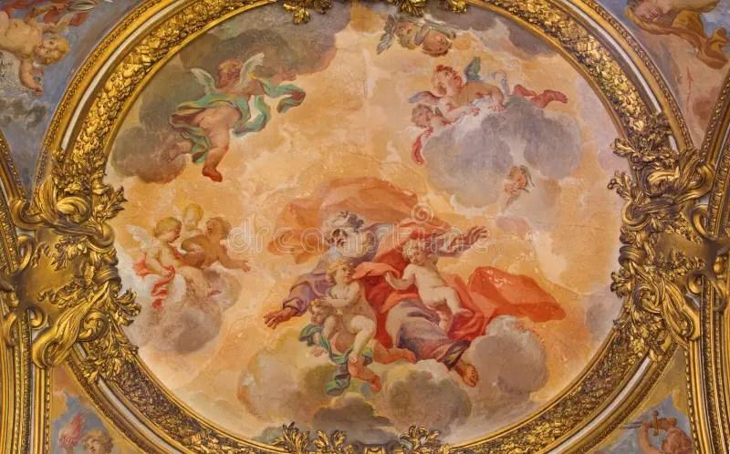 羅馬,意大利- 2016年3月9日:天使壁畫榮耀在教會基耶薩di圣西爾韋斯特羅里在Capite Lucovico Gimignani 庫存圖片 ...