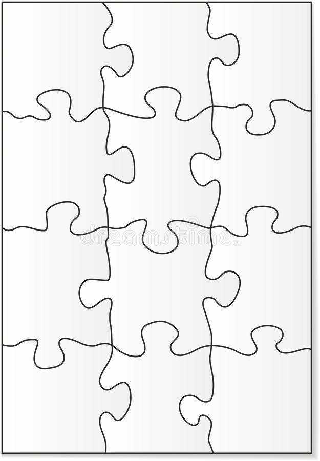 12 piece puzzle template stock vector. Image of pattern