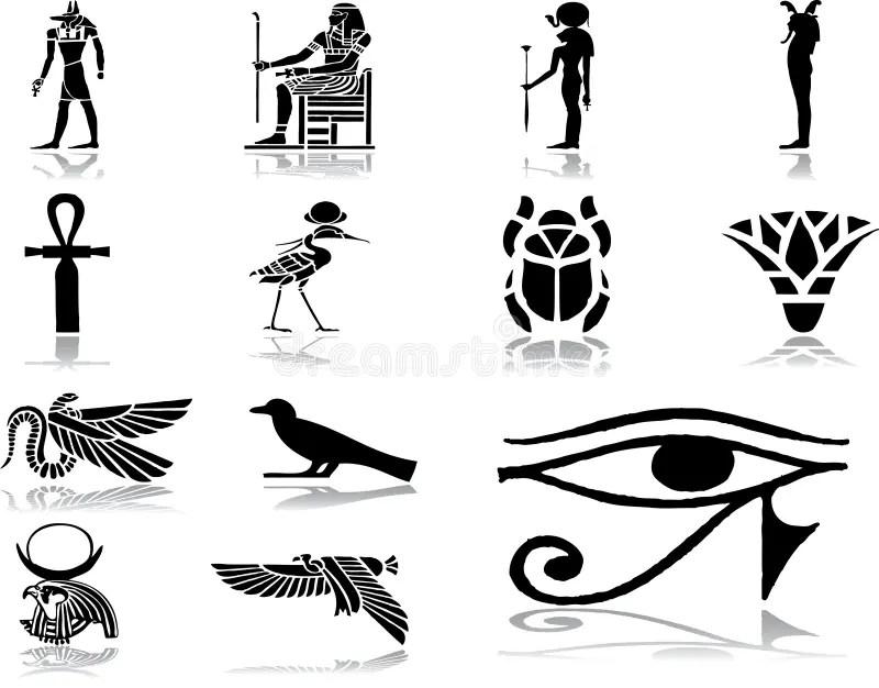 30 Inställda Egypt Symboler Vektor Illustrationer