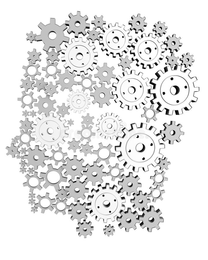 Man's Head With Brain Made Of Gears Stock Vector