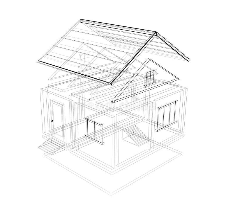 3d sketch of a house stock illustration. Illustration of