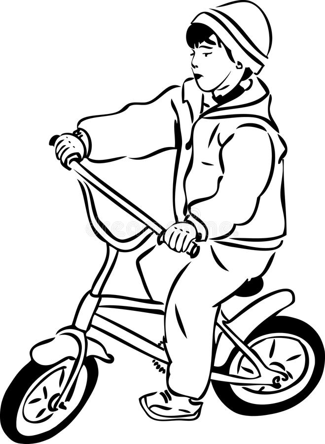 Abbozzo Di Un Ragazzo Che Guida Una Bicicletta Su Un