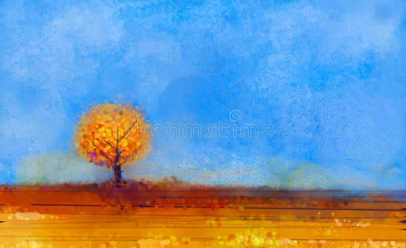 Minimalist Fall Wallpapers Oil Painting Landscape Tree And Field At Fall Season
