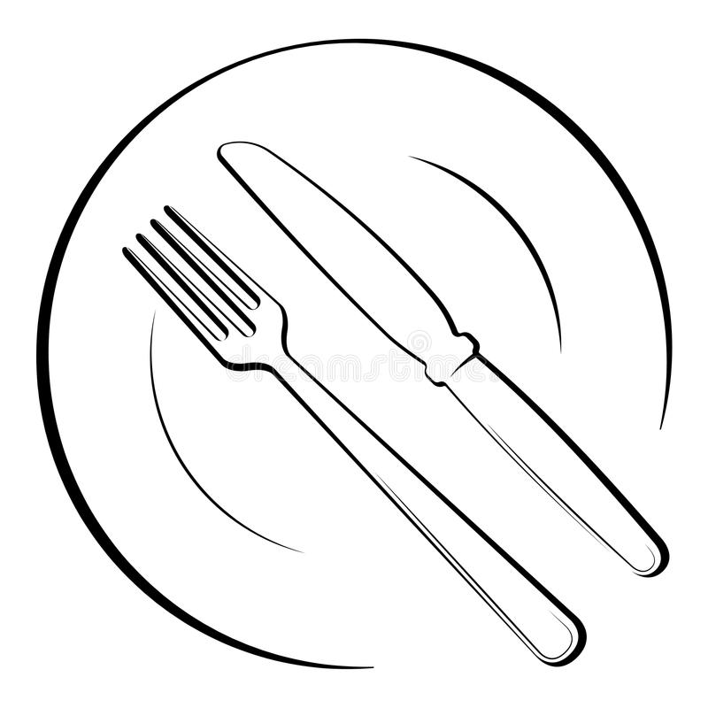 Abstract Logo Of A Cafe Or Restaurant. A Spoon And Fork On