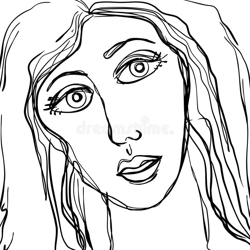 Abstract Sad Woman Face Sketch Royalty Free Stock Image