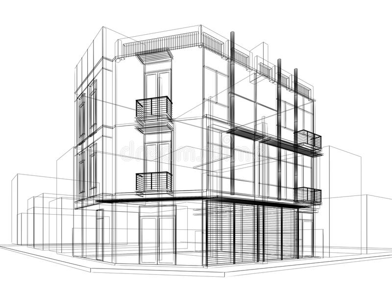 Abstract Sketch Design Of Exterior Building Stock Photo