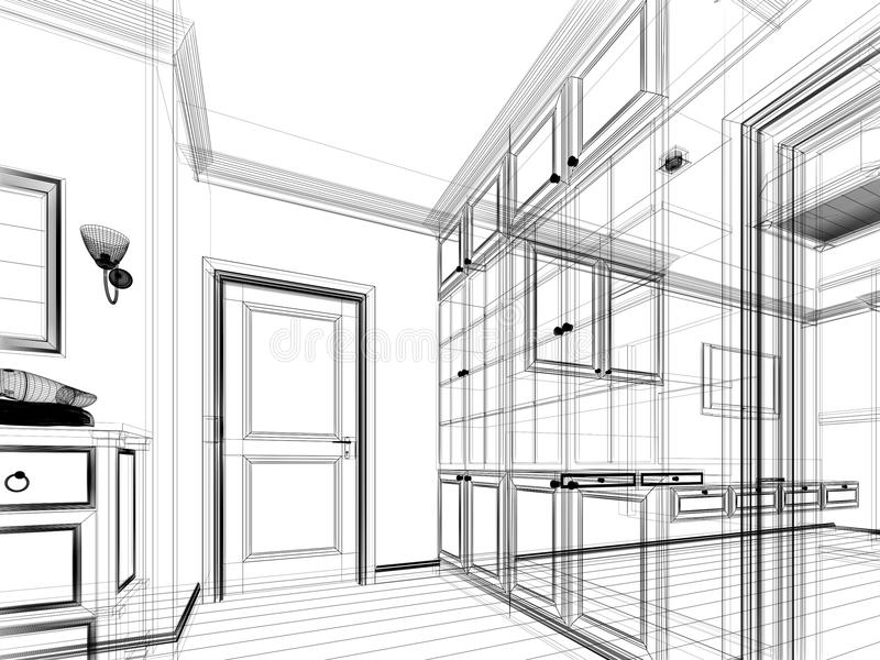 Abstract Sketch Design Of Interior Walk-in Closet Stock