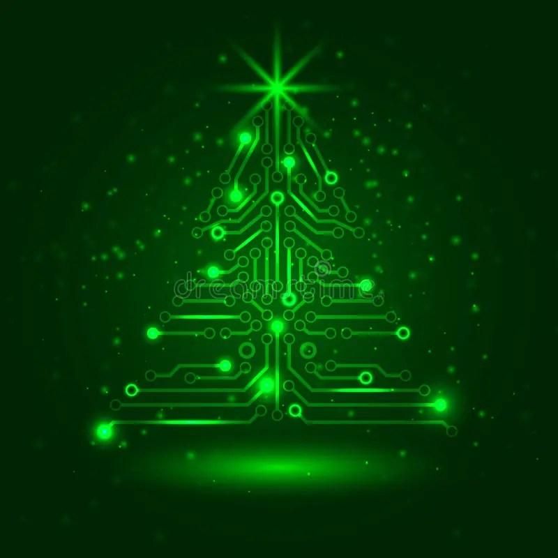 Abstract Technology Christmas Tree Stock Vector Image