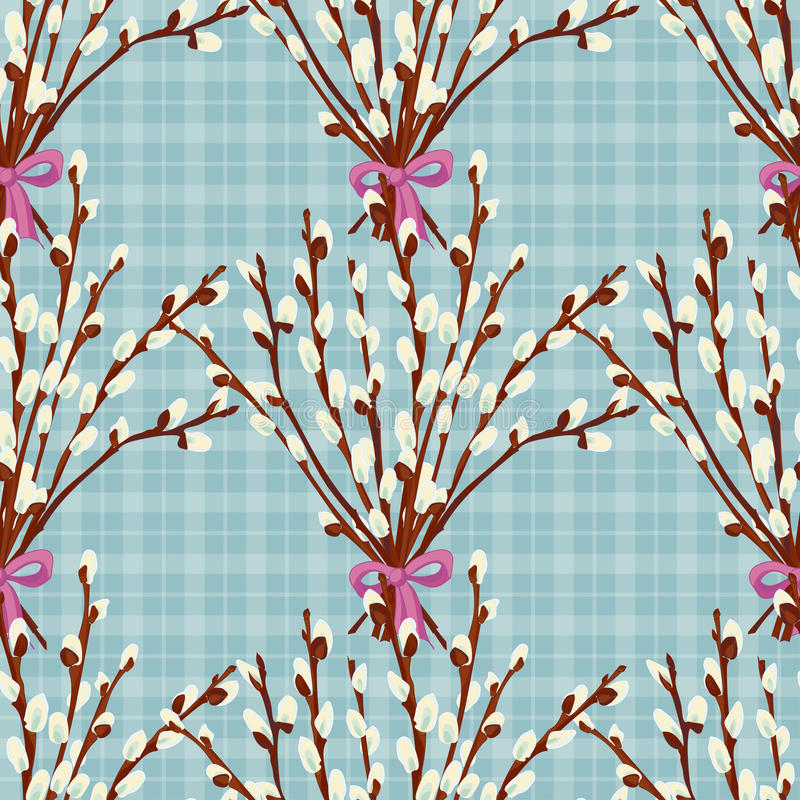 Abstract Texture With Willow Seamless Pattern With Festive Flower Bouquet Ornament Stock