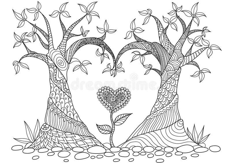 Abstract Trees In Heart Shape Line Art Design For Coloring