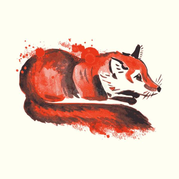 Fox Watercolor Abstract Art