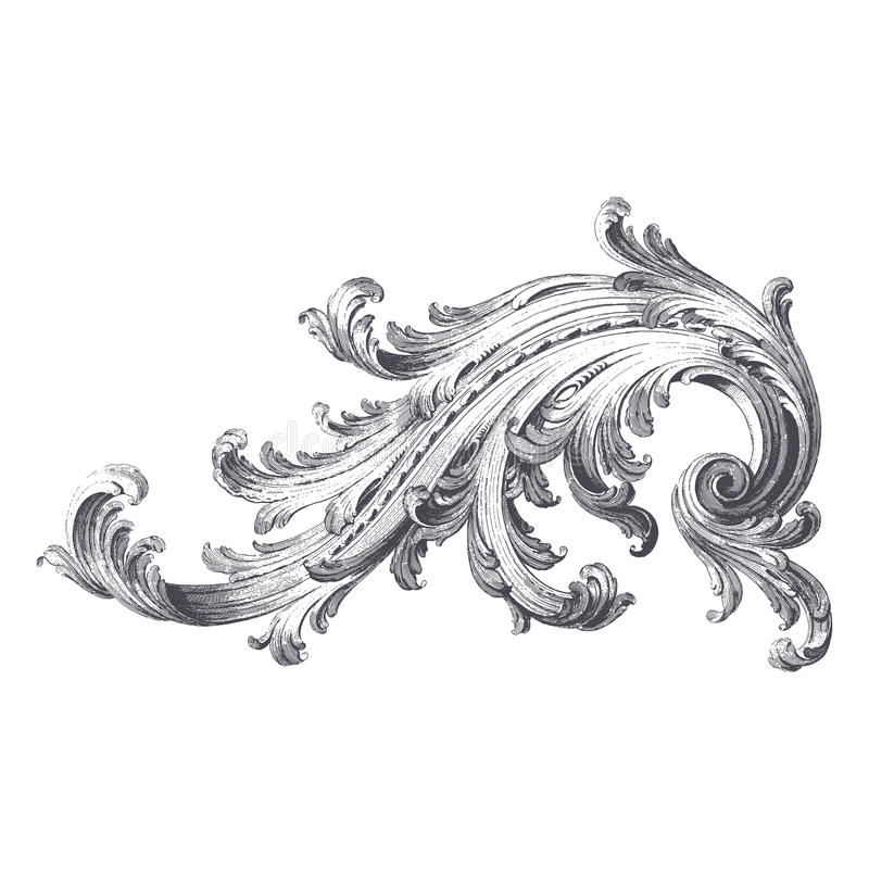 Acanthus Scroll stock vector. Illustration of engraving