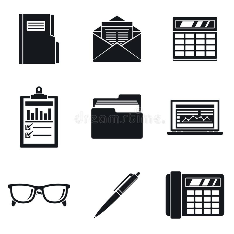 Accounting International Day Icon Set, Simple Style Stock