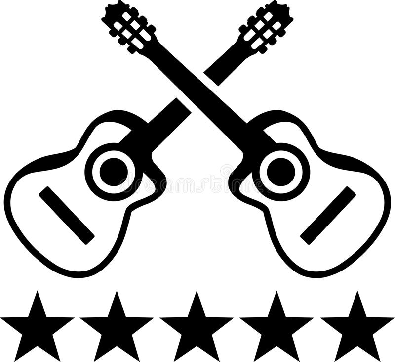 Acoustic guitar head stock vector. Illustration of