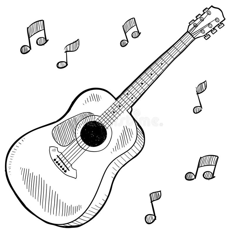 Acoustic guitar drawing stock vector. Image of isolated