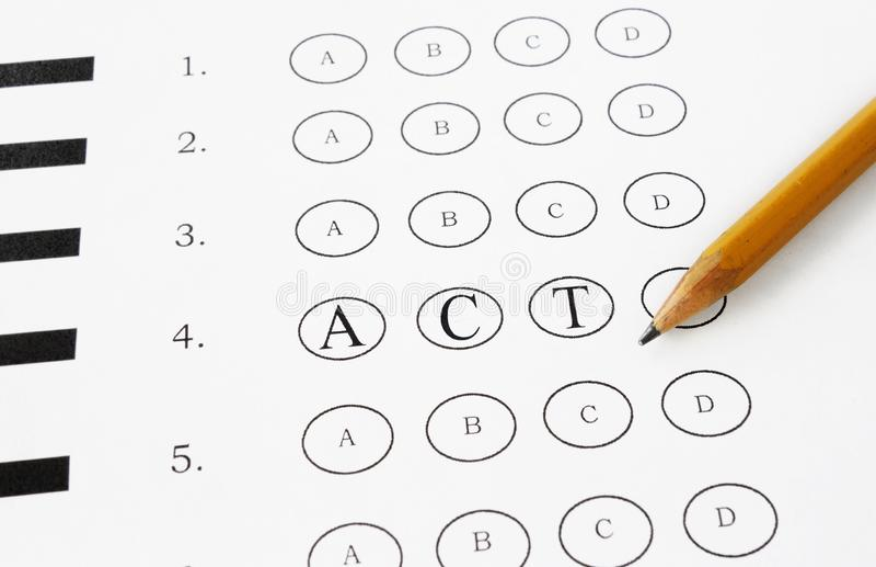 ACT multiple choice stock image. Image of standardized