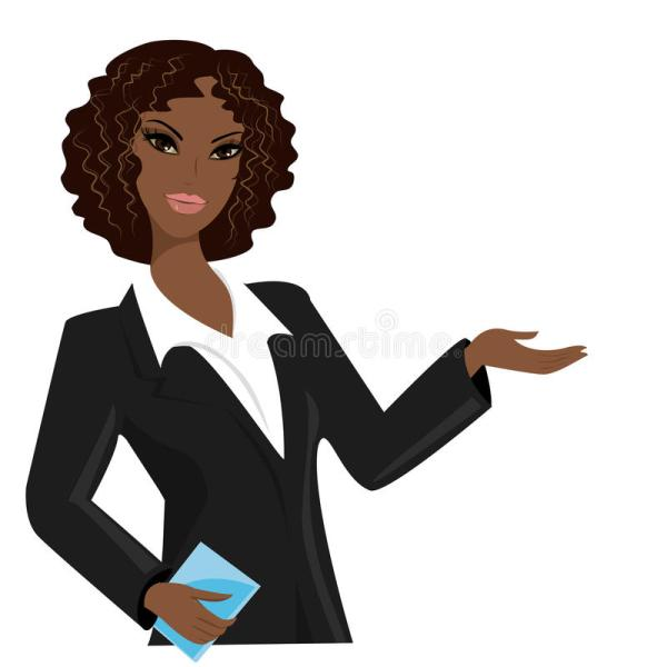 Cartoon African American Business Woman Vector Illustration