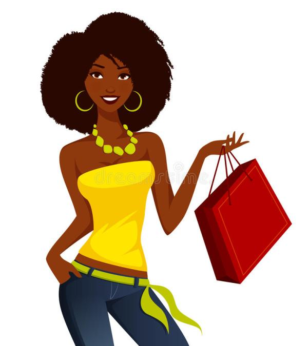 African American Woman Shopping Stock Vector