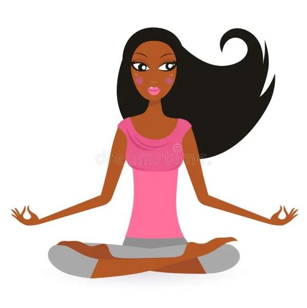 Afro - American Woman In Yoga Lotus Pose Stock Vector