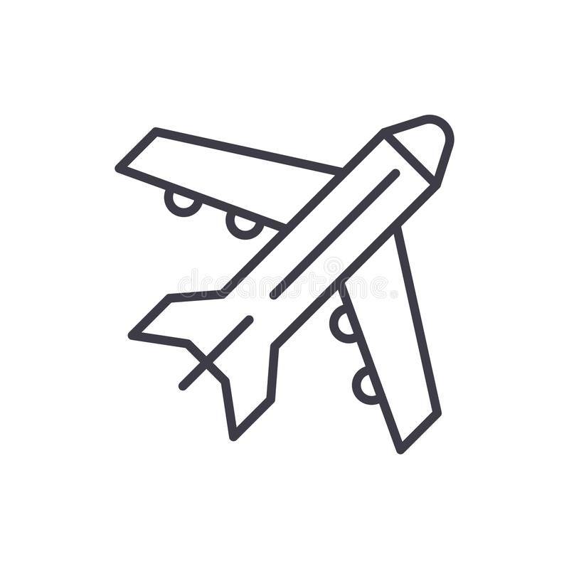 Freight Airplane Flat Outline Concept. Cargo Plane Global