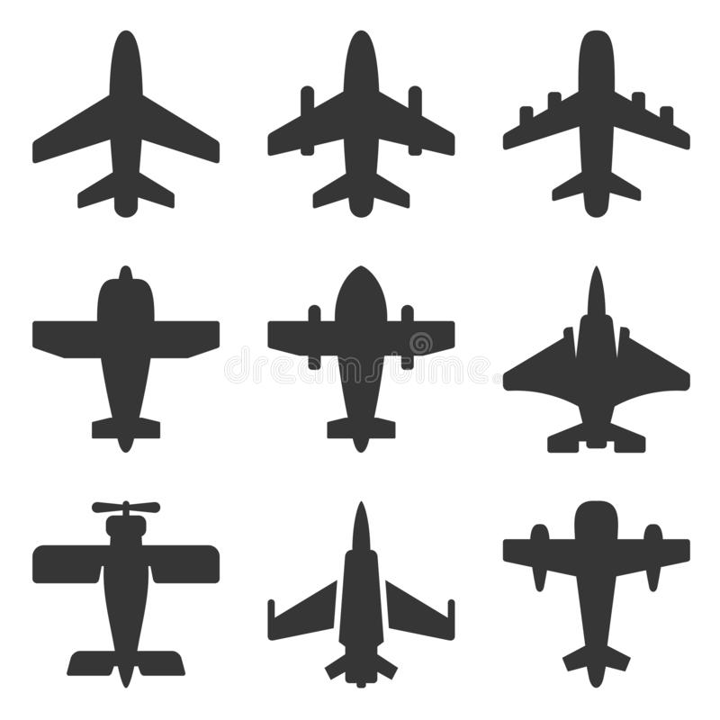 Set Of Black Icons Airport And Airplane, Freight Stock