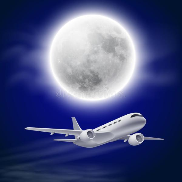 Airplane In Night Sky With Moon. Stock Vector