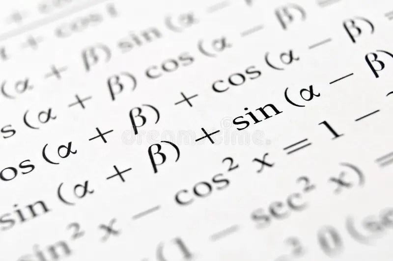 Algebra formulas close up. stock image. Image of school