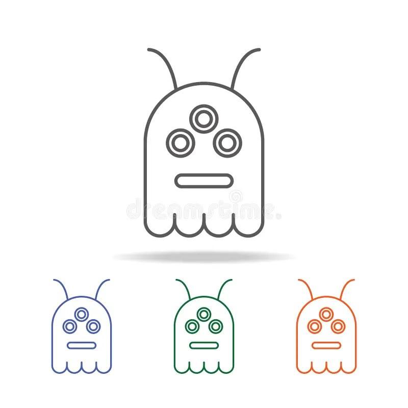 Three multi-colored alien stock illustration. Illustration