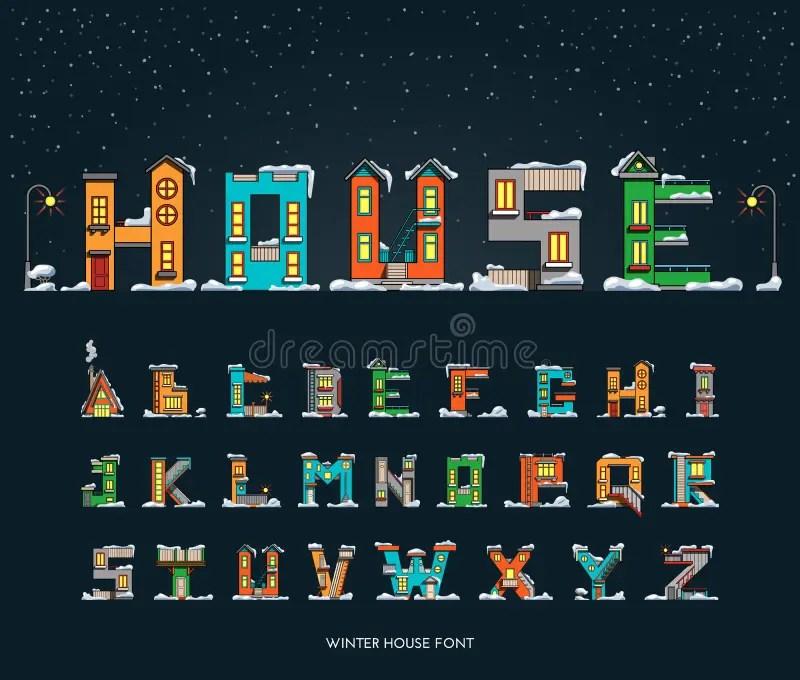 Alphabet Cartoon Winter House Font Stock Illustration  Image 61851209